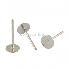 Earring peg stud, stainless steel, 12x6mm, 1pair