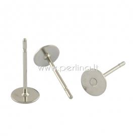 Earring peg stud, stainless steel, 12x8mm, 1pair