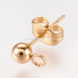 Adatėlė auskarui su antgaliu, nerūdijantis plienas, aukso sp., 15x7 mm, 1 pora