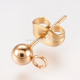 Earring peg stud with ear nut, stainless steel, golden, 15x7mm, 1pair