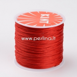 Waxed polyester cord, red, 0.5mm, 106m