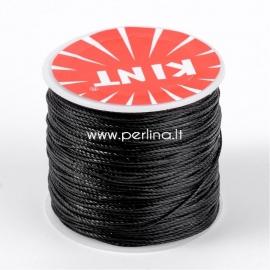 Vaškuota poliesterio virvelė, juoda sp., 0,5mm, 106m