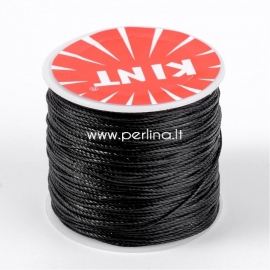 Waxed polyester cord, black, 0.5mm, 106m