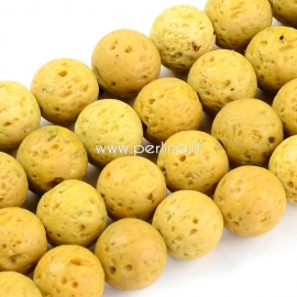 Dyed natural Lava beads, golden, 8mm 1pc