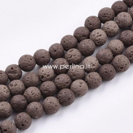 Dyed natural Lava beads, coconut brown, strand, 8~8,5mm