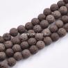Natūralus lavos karoliukas, kokoso ruda sp., 8~8,5mm, juosta