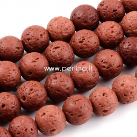Dyed natural Lava beads, saddle brown, strand, 8~8,5mm