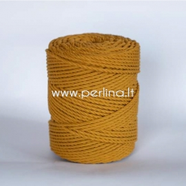 Twisted cotton cord, mustard, 3 mm, 240 m