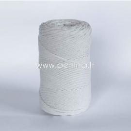 Pasukta medvilninė virvė, natūrali sp., 3 mm, 280 m