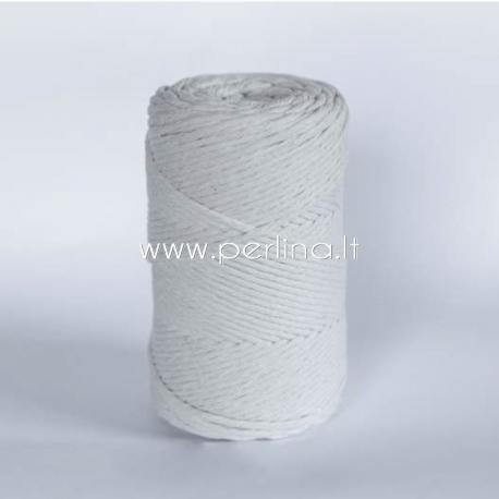 Pasukta medvilninė virvė, natūrali sp., 5 mm, 120 m