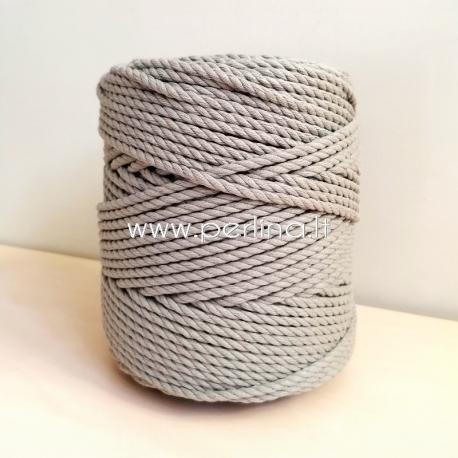Sukta medvilninė virvė, šviesiai pilka sp., 3 mm, 300 m