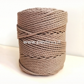 Twisted cotton cord, taupe, 4 mm, 160 m