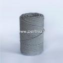 Pasukta medvilninė virvė, tamsiai pilka sp., 3 mm, 140 m