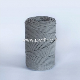 Cotton rope, dark grey, 3 mm, 140 m