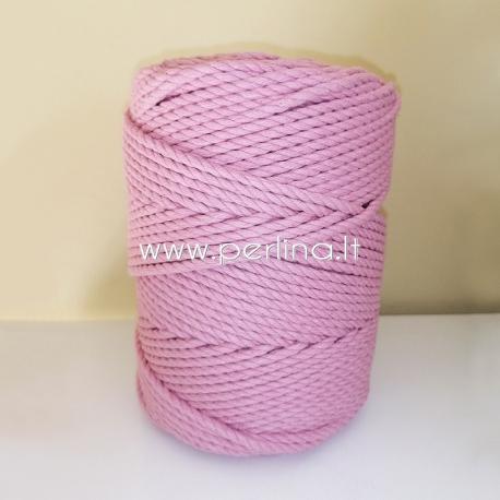 Sukta medvilninė virvė, blyški levandų sp., 4 mm, 160 m