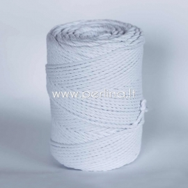 Twisted cotton cord, white, 3 mm, 120 m