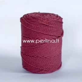 Twisted cotton cord, claret, 4 mm, 170 m