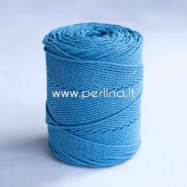 Twisted cotton cord, blue, 3 mm, 150 m