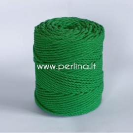 Twisted cotton cord, green, 3 mm, 260 m