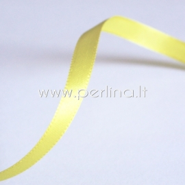 Satin ribbon, yellow, 6 mm, 1 m