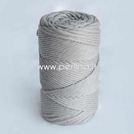 Pasukta medvilninė virvė, šv. pilka sp., 3 mm, 140 m