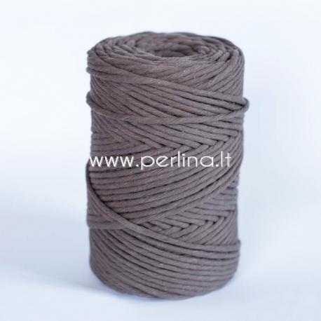 Pasukta medvilninė virvė, rusva sp., 3 mm, 140 m