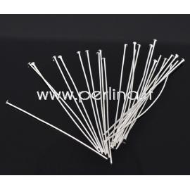 Head pins, silver plated, 60x0,8 mm, 10 pcs