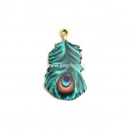 "Pendant ""Peacock"", silver tone, 32x18 mm"
