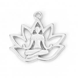 "Pendant ""Yoga"", silver tone, 18x17 mm"