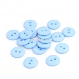 Resin button, light blue, 15 mm