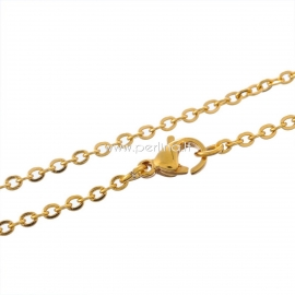 Stainless steel link cable chain, gold plated, 45 cm long, 3x2,5 mm