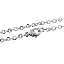 Grandinėlė, nerūdijantis plienas, sidabro sp., 45 cm ilgis, 3x2,5 mm