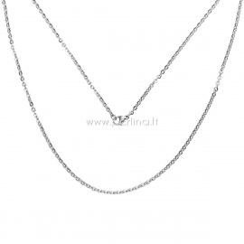 Stainless steel link cable chain, silver tone, 50 cm long, 3x2,5 mm