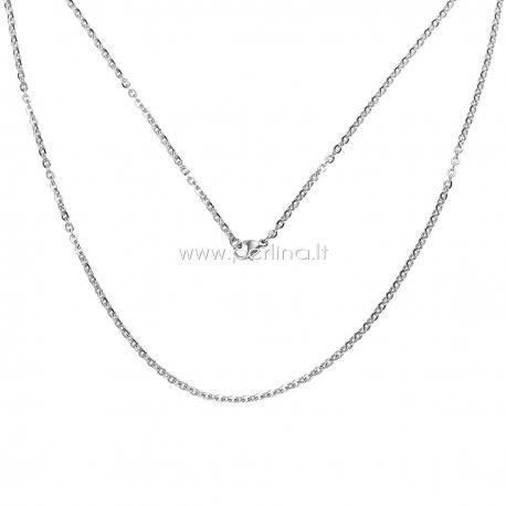 Grandinėlė, nerūdijantis plienas, sidabro sp., 50 cm ilgis, 3x2,5 mm