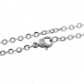 Stainless steel link cable chain, silver tone, 70 cm long, 3x2,5 mm