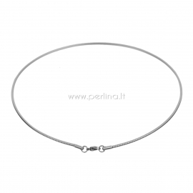 Stainless steel wire collar necklace, silver tone, 43,5 cm long