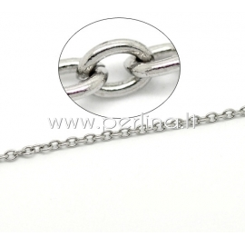 Stainless steel link cable chain, silver tone, 4x3x0.8 mm, 10 cm