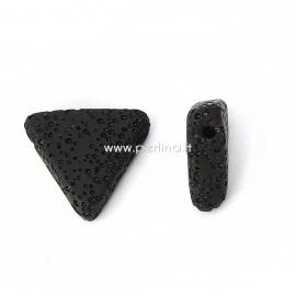 Natūralus lavos karoliukas, juoda sp., 19x17mm, 1 vnt.