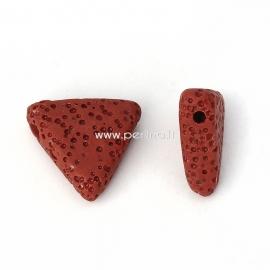 Natūralus lavos karoliukas, raudonų plytų sp., 19x17mm, 1 vnt.