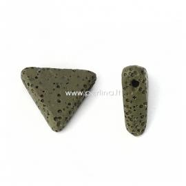 Natūralus lavos karoliukas, chaki sp., 19x17mm, 1 vnt.