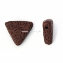 Natūralus lavos karoliukas, ruda sp., 19x17mm, 1 vnt.