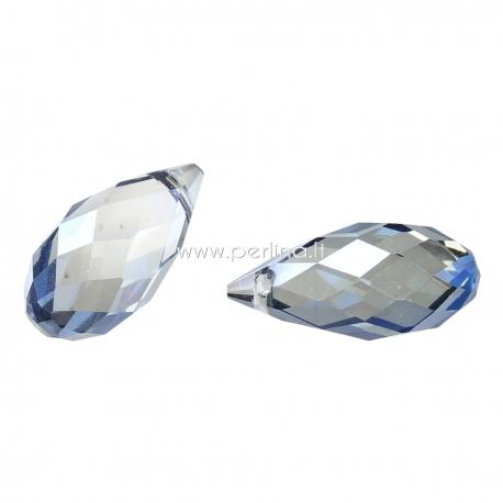 Stiklinis karoliukas, skaidrus mėlynas, 17x8 mm, 1 vnt.