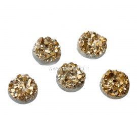 "Akrilinis kabošonas ""Druzy"", aukso sp.,10 mm, 1 vnt"