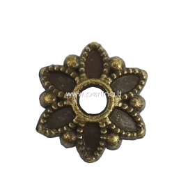 Kepurėlė karoliukui, ant.bronzos sp., 8x7 mm, 1 vnt