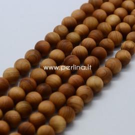 Medinis karoliukas, natūrali medžio sp., 6 mm, 1 juosta (apie 66 vnt.)