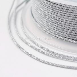Braided nylon thread, silver/light grey, 1,5 mm, 1 roll/12 m