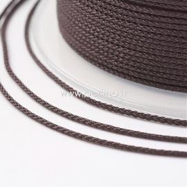 Braided nylon thread, dark brown, 1,5 mm, 1 roll/12 m