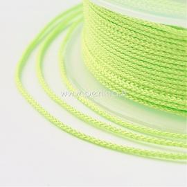 Braided nylon thread, green yellow, 1,5 mm, 1 roll/12 m