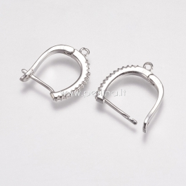 Užsegami auskarai su cirkonio akutėmis, žalvaris, platinos sp., 20x15x2 mm, 1 pora