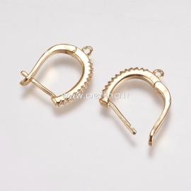 Užsegami auskarai su cirkonio akutėmis, žalvaris, aukso sp., 20x15x2 mm, 1 pora